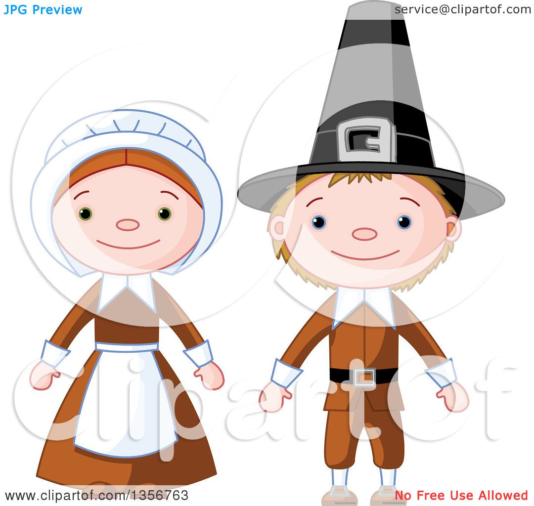 clipart of a happy thanksgiving pilgrim boy and girl royalty free rh clipartof com pilgrim hat clipart free pilgrim and indian clipart free
