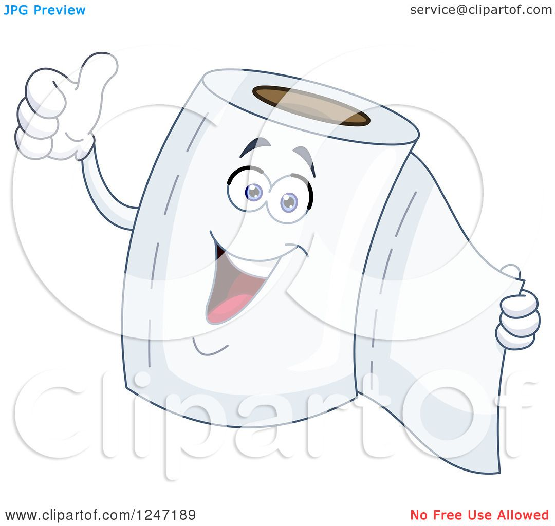 Royalty Free Toilet Clip Art Vector Images: Clipart Of A Happy Toilet Paper Character Giving A Thumb