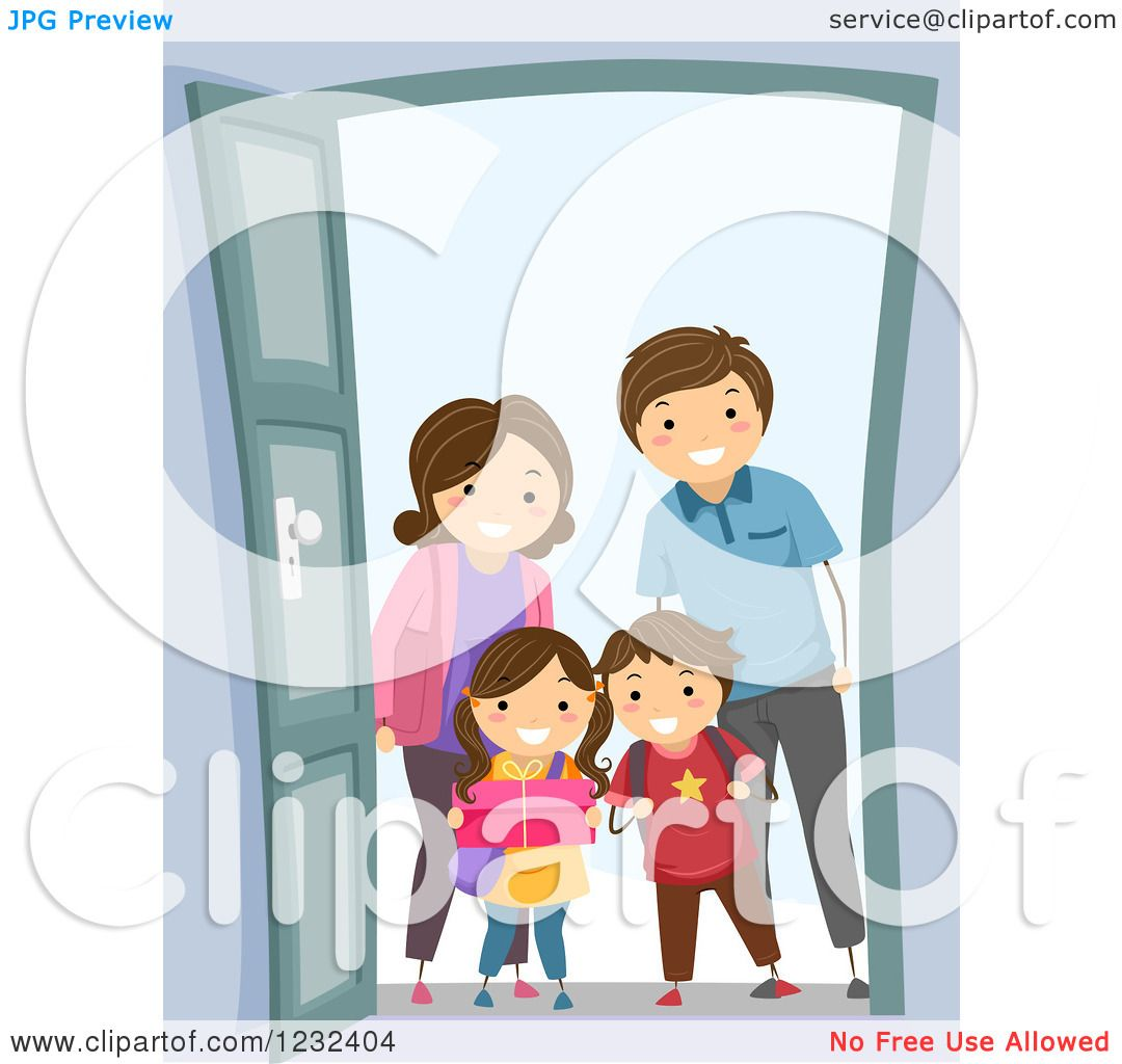 Clipart Of A Happy Visiting Family At A Door Royalty