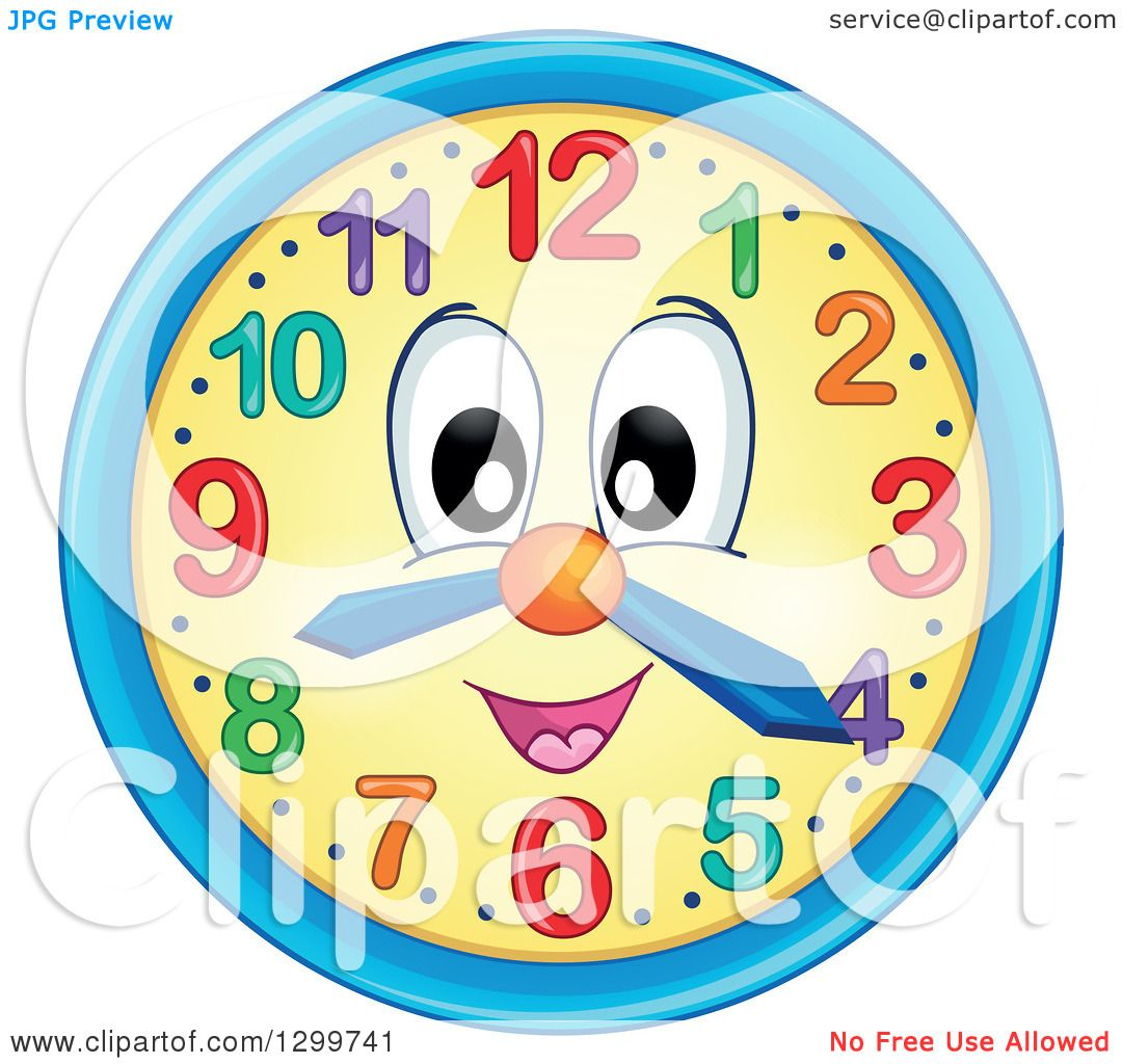Clipart of a Happy Wall Clock Character - Royalty Free Vector ...
