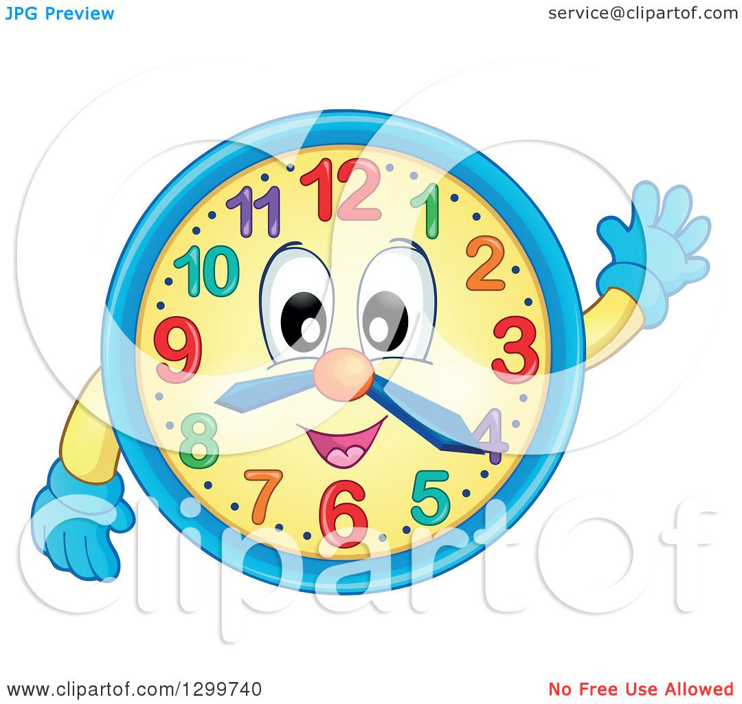 Clipart of a Happy Wall Clock Character Waving - Royalty Free Vector ...