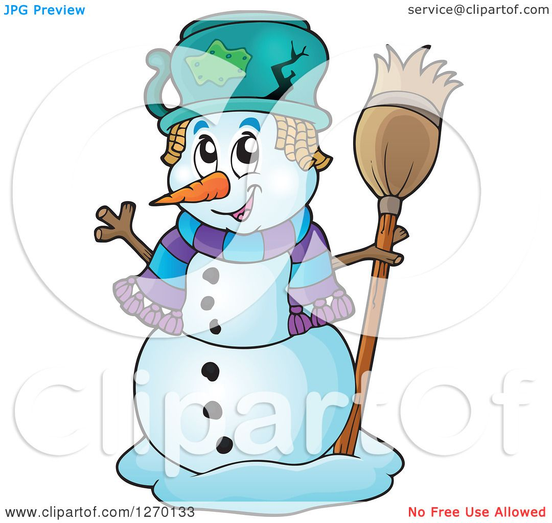 Clipart of a Happy Waving Snowman with a Broom and Broken ...