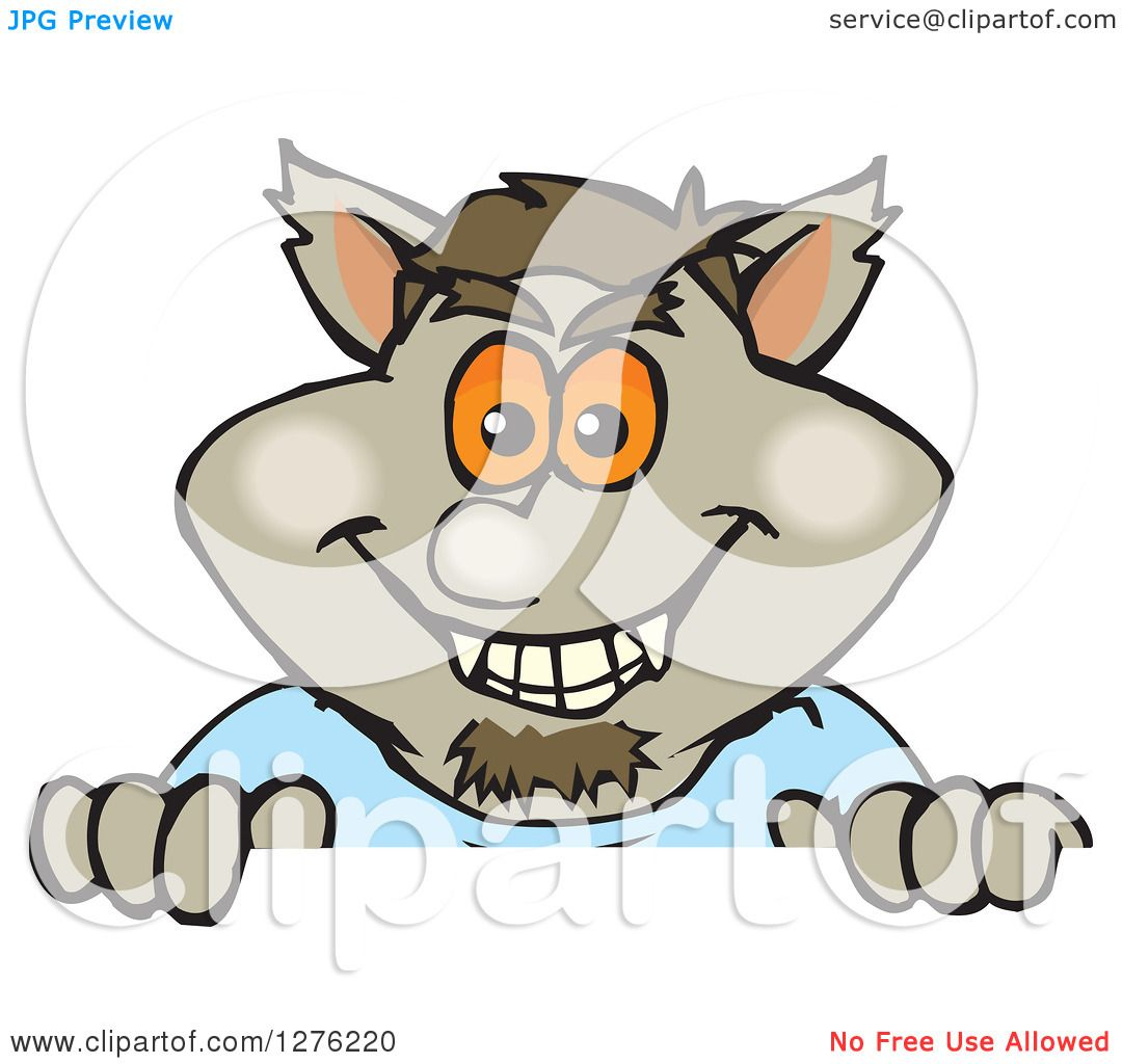 35e5da239 Clipart of a Happy Werewolf Peeking over a Sign - Royalty Free Vector  Illustration by Dennis