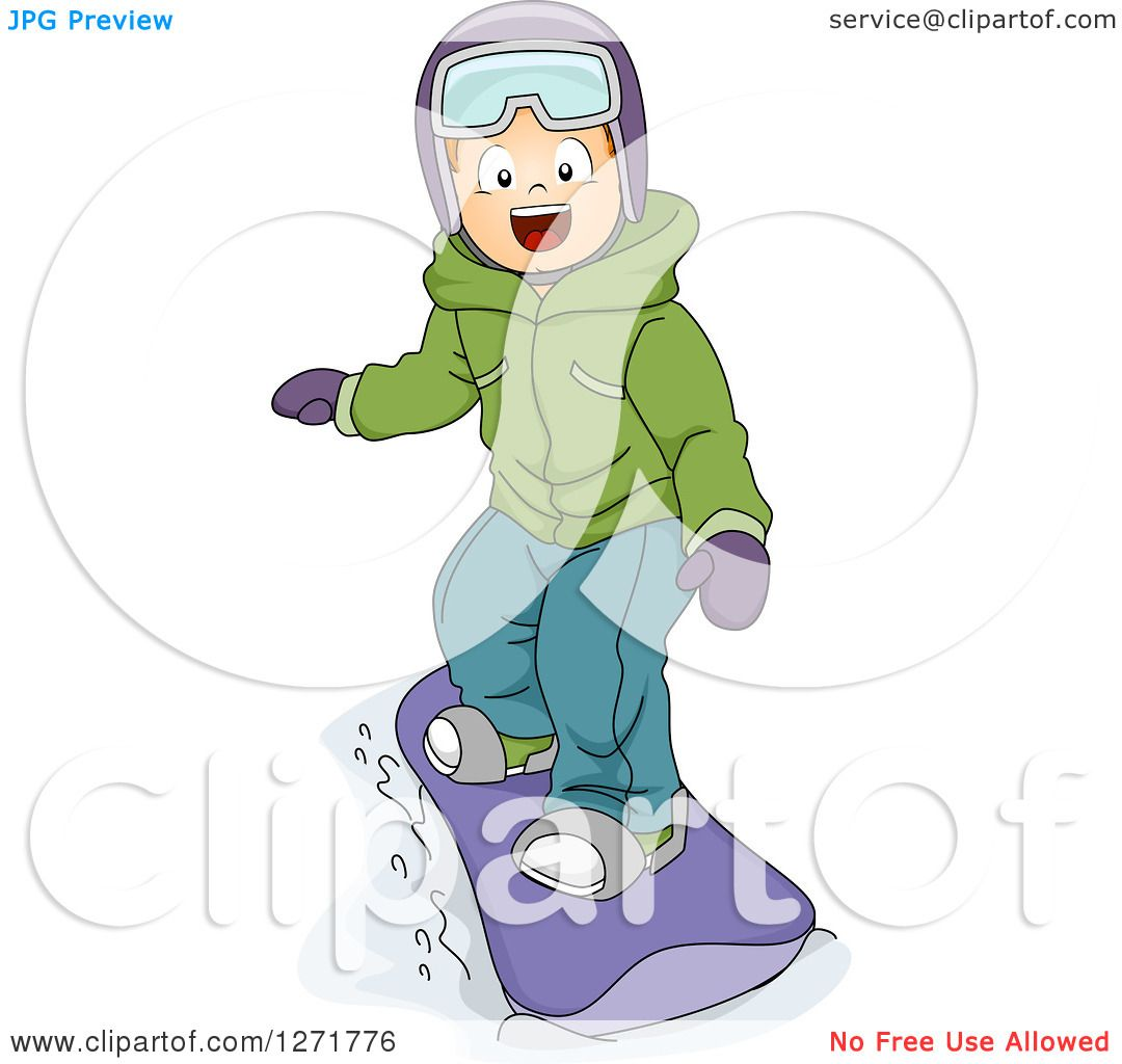 Clipart Of A Happy White Boy Snowboarding Royalty Free Vector Illustration By Bnp Design Studio 1271776