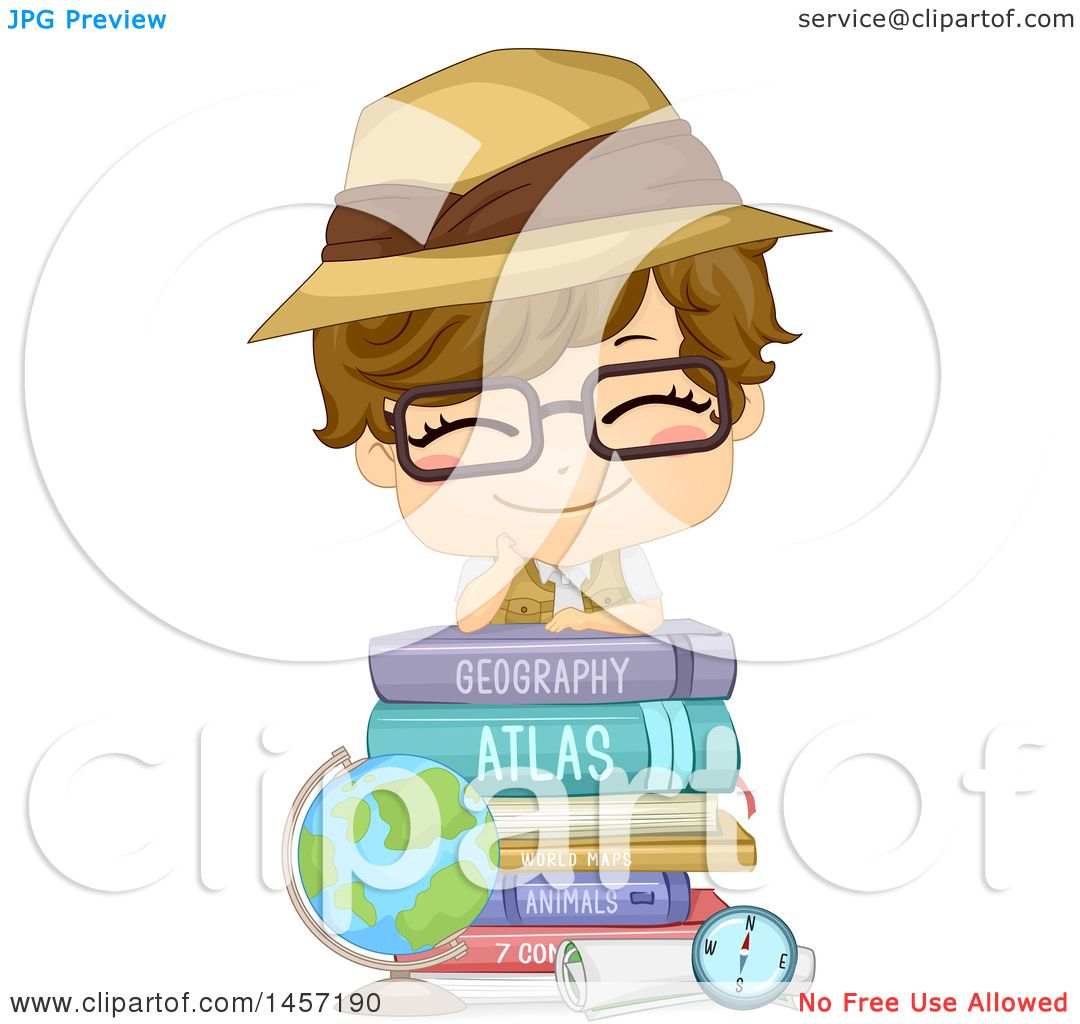 Clipart Of A Happy White Boy Wearing A Safari Hat And Resting On A Stack Of Books By A Desk Globe Royalty Free Vector Illustration on coloring pages for stack of school books