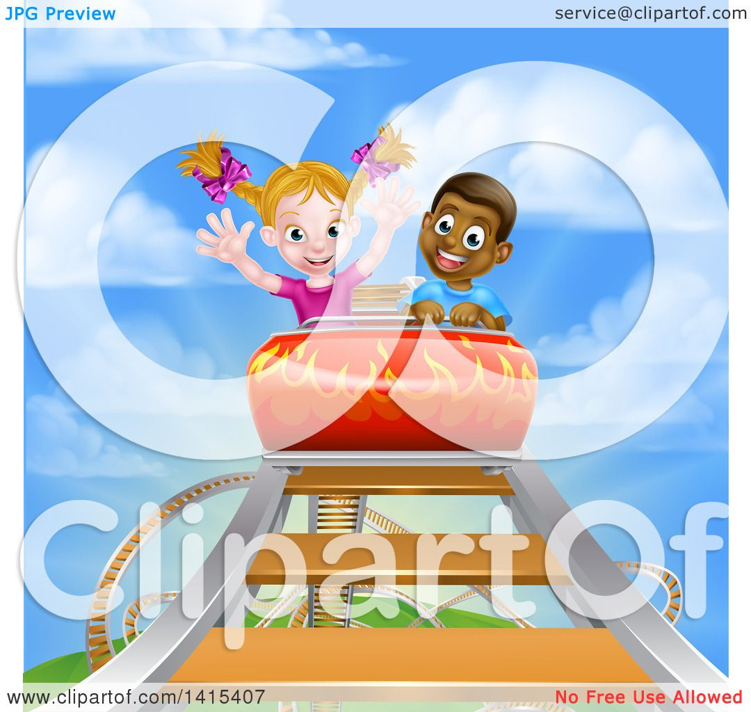 Clipart Of A Happy White Girl And Black Boy At The Top Of -7479