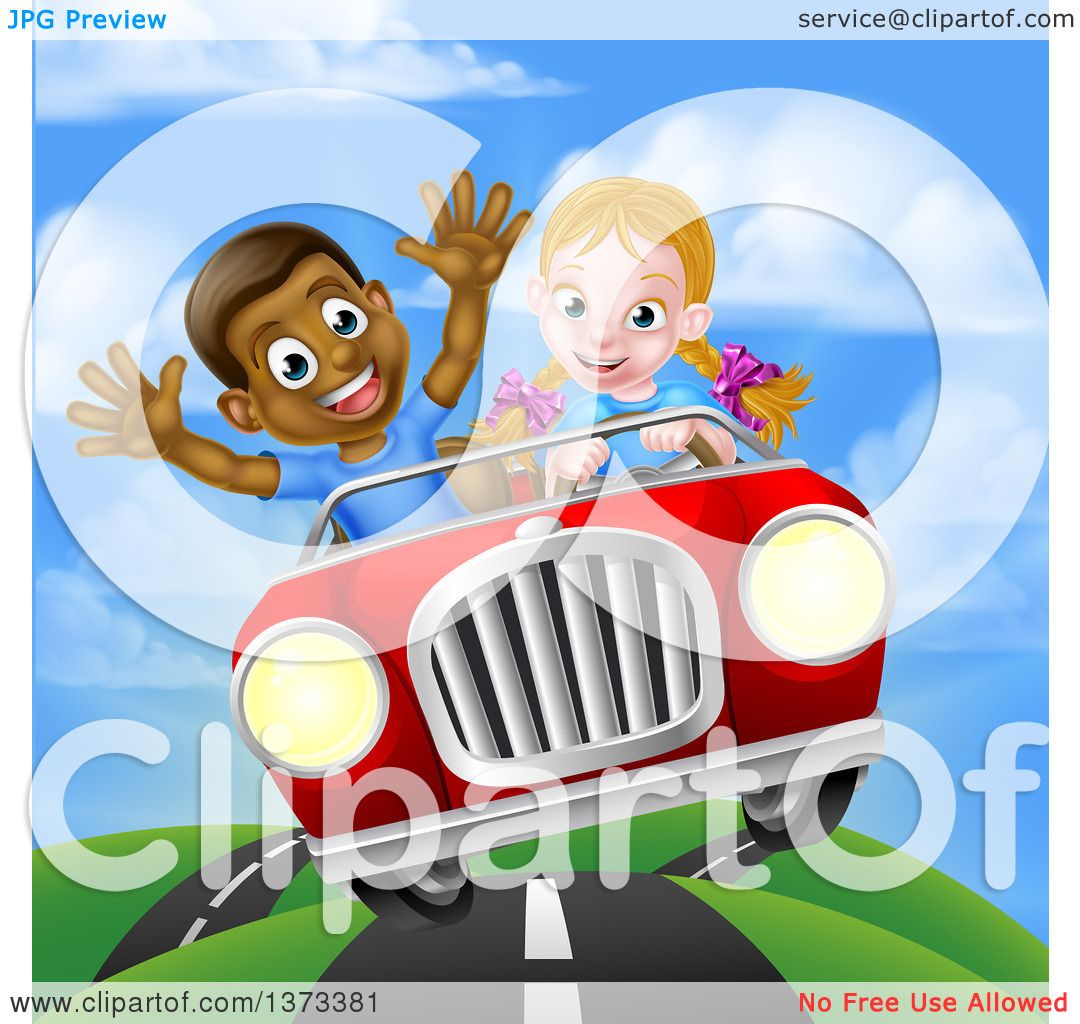 Clipart Of A Happy White Girl Driving A Red Convertible -9778