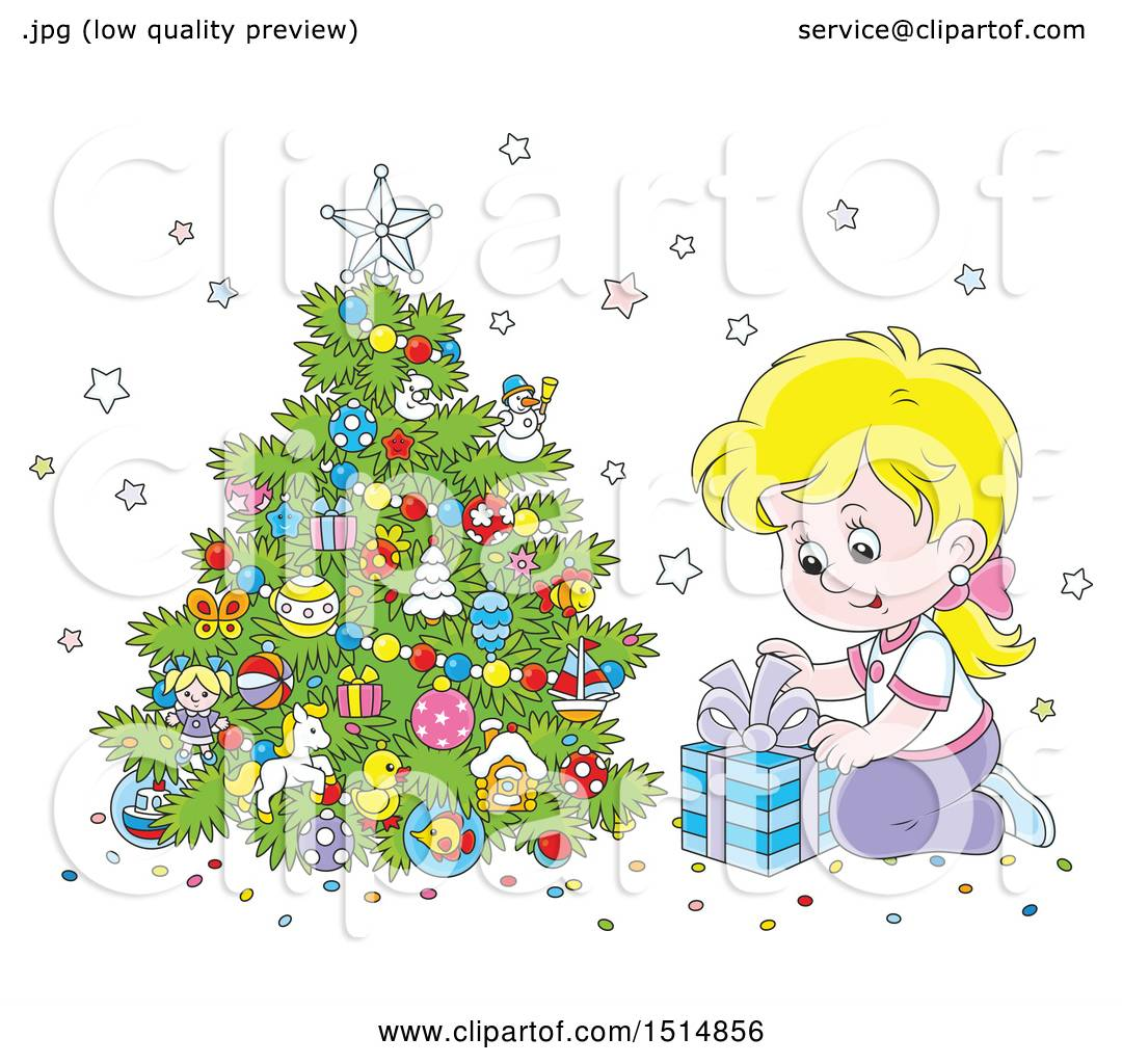 Clipart of a Happy White Girl Opening a Gift on Christmas ...
