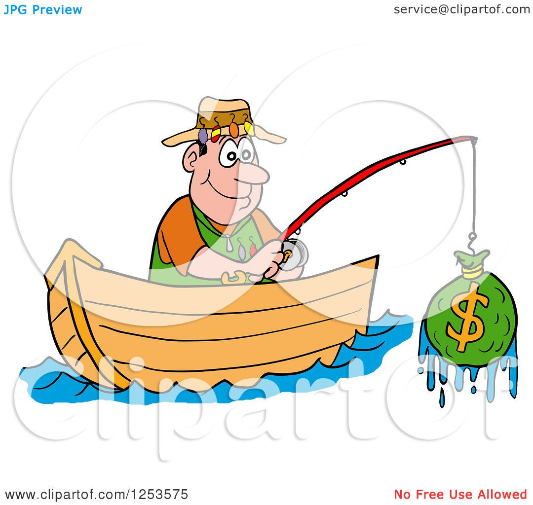 Clipart of a happy white man fishing for money royalty for Fish for cash