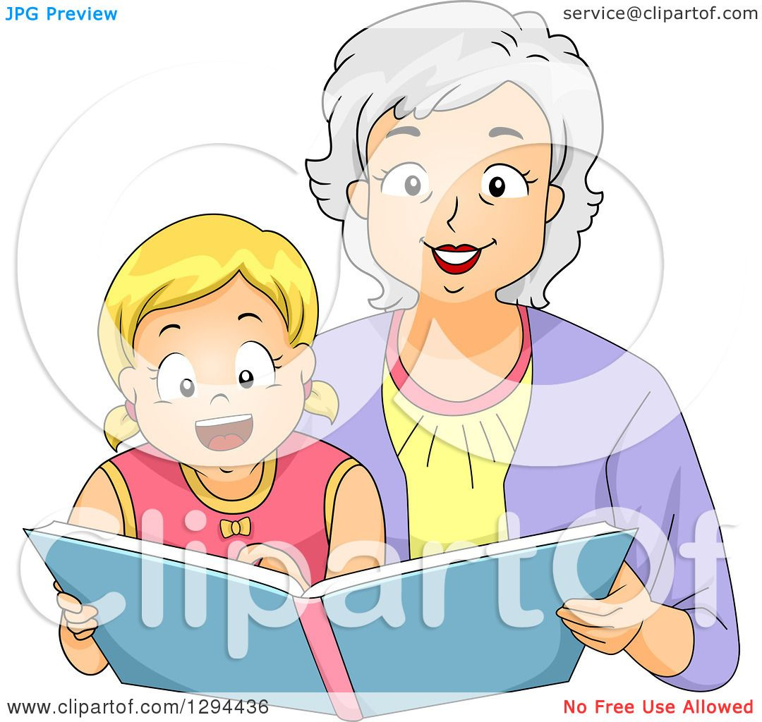 Clipart of a Happy White Senior Grandmother Reading a ...