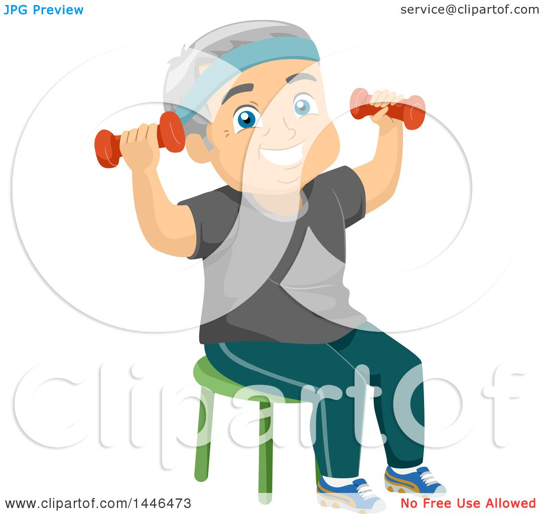 Clipart Of A Happy White Senior Man Working Out With