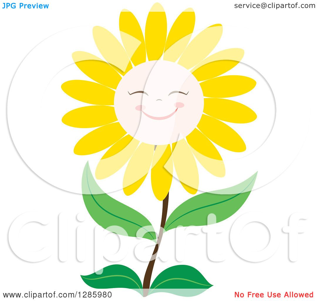 Clipart of a Happy Yellow Daisy or Sunflower Smiling ...