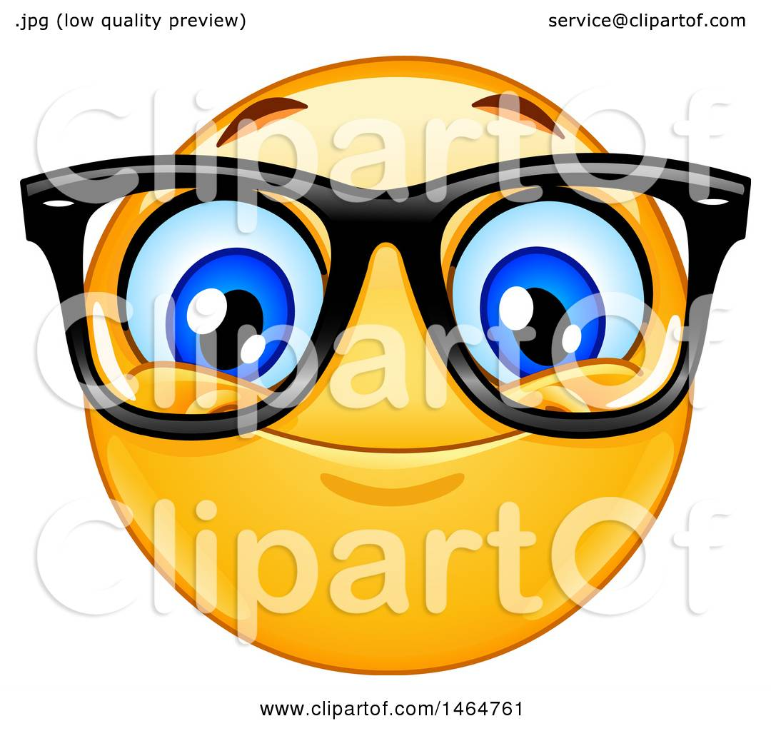 clipart of a happy yellow emoji smiley face emoticon wearing glasses rh clipartof com Sunglasses Clip Art Emoticon Clip Art
