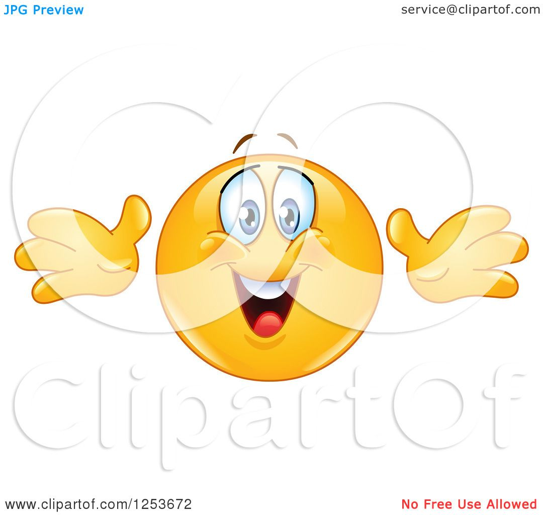 Clipart of a Happy Yellow Emoticon Smiley Reaching out for a