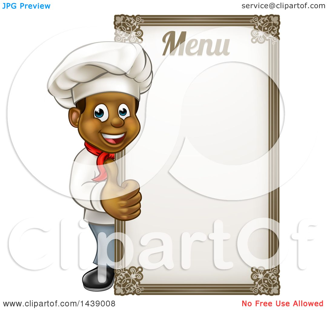 clipart of a happy young black male chef giving a thumb up around a