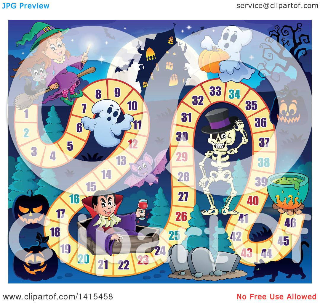 Clipart Of A Haunted House And Halloween Characters Board