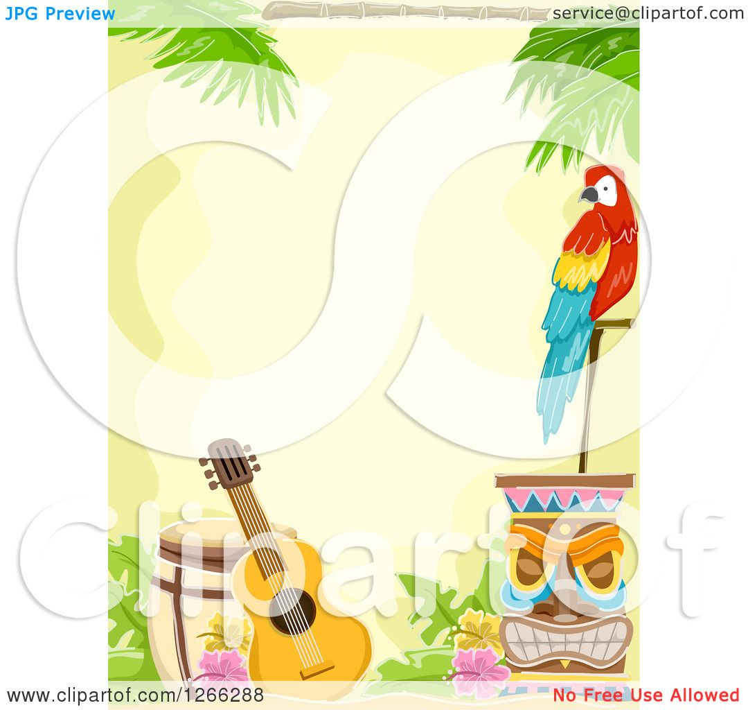 Clipart Of A Hawaiian Background With Parrot Tiki And Guitar