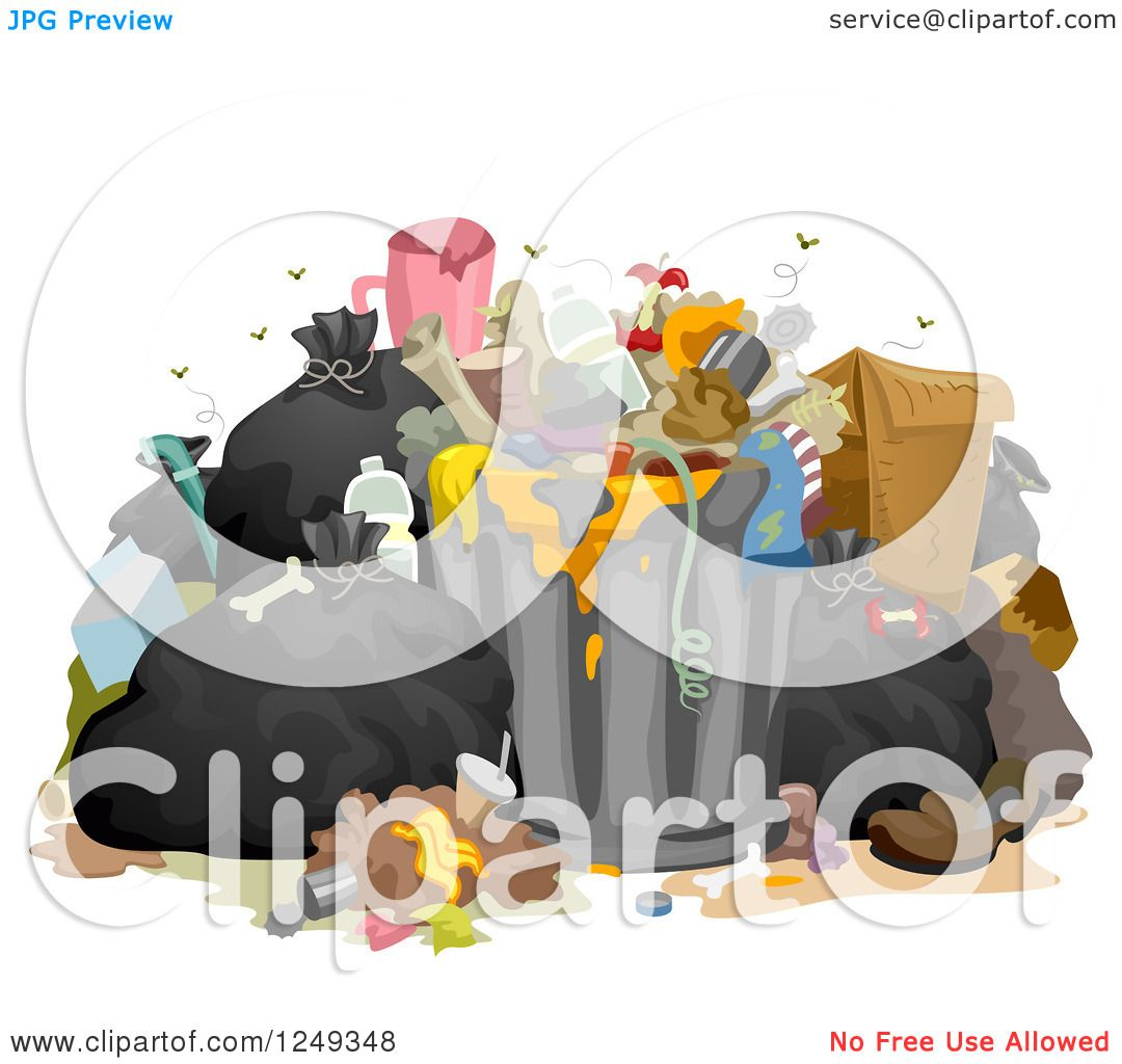Clipart Of A Heap Of Stinky Messy Garbage Royalty Free