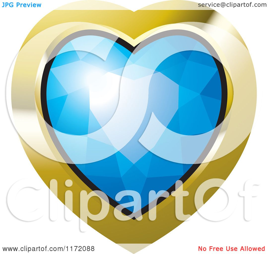 Clipart of a Heart Blue Diamond or Gemstone with a Gold Frame ...