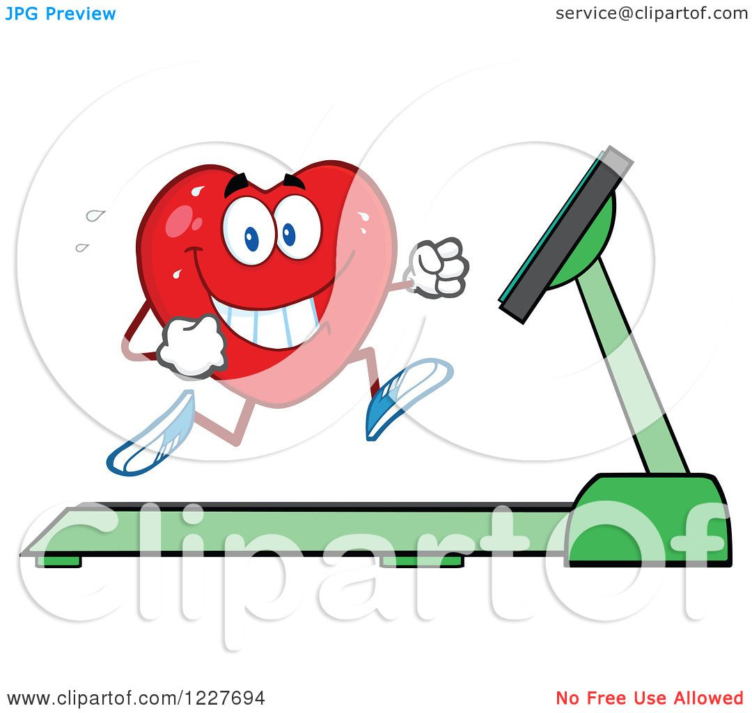 Clipart of a Heart Character Running on a Treadmill - Royalty Free ...