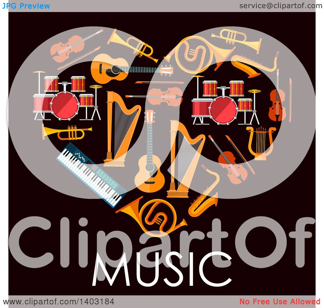 Clipart of a Heart Made of Instruments with Text on Black ...