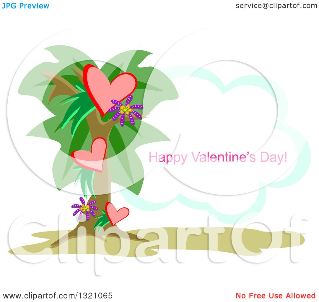 Clipart of a Heart Palm Tree with Happy Valentines Day Text on a ...