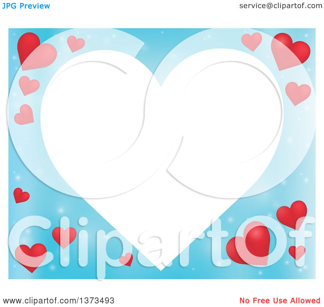 Clipart of a Heart Shaped Frame over a Blue Valentines Day ...