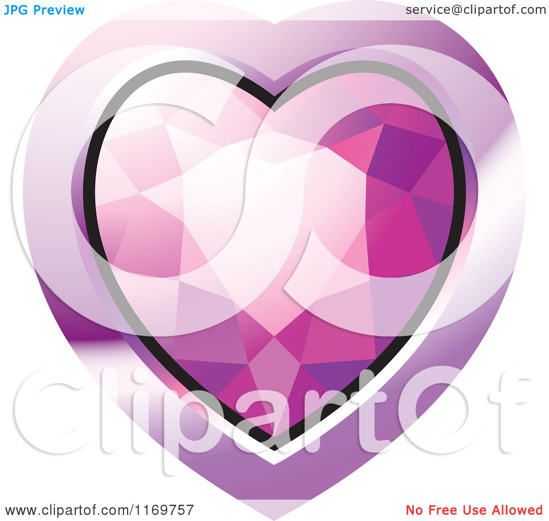Clipart of a Heart Shaped Pink Diamond or Gemstone with a Purple ...