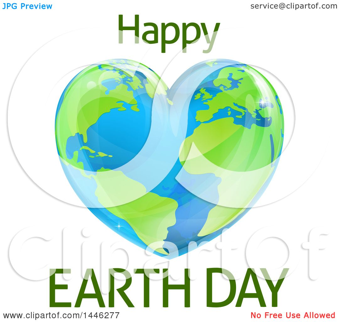 Clipart of a Heart Shaped Planet with Happy Earth Day Text ...