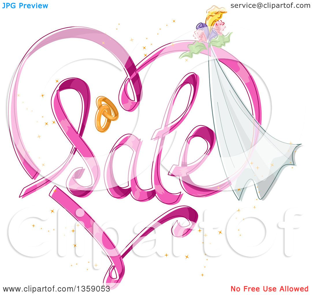 Clipart of a Heart Shaped Sale Design with Wedding Bands, Flowers ...