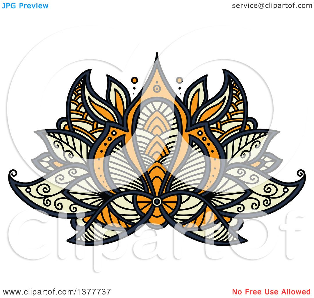 Clipart Of A Henna Lotus Flower Royalty Free Vector Illustration