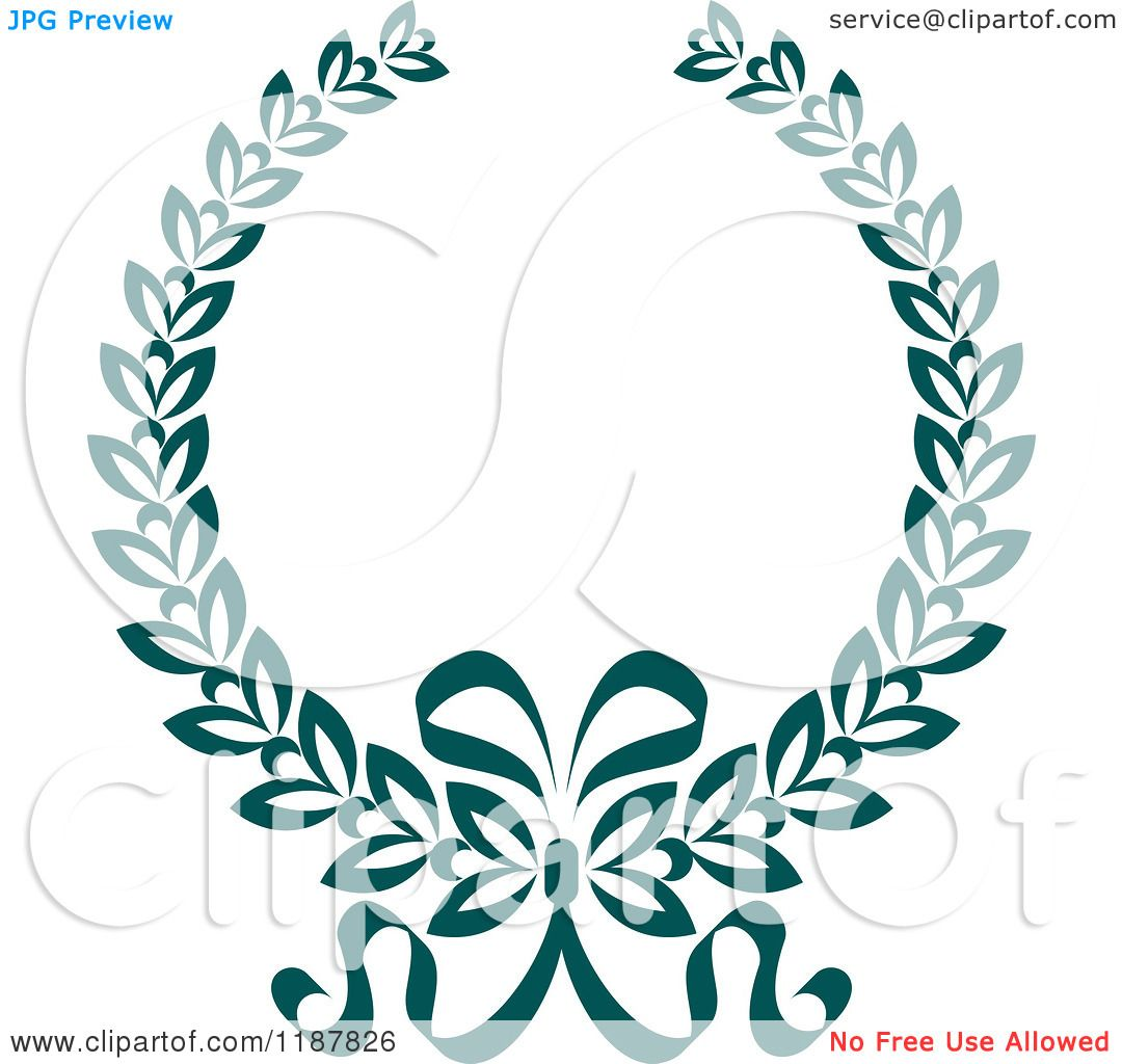 Clipart of a Heraldic Teal Laurel Wreath and Bow 2 - Royalty Free ...
