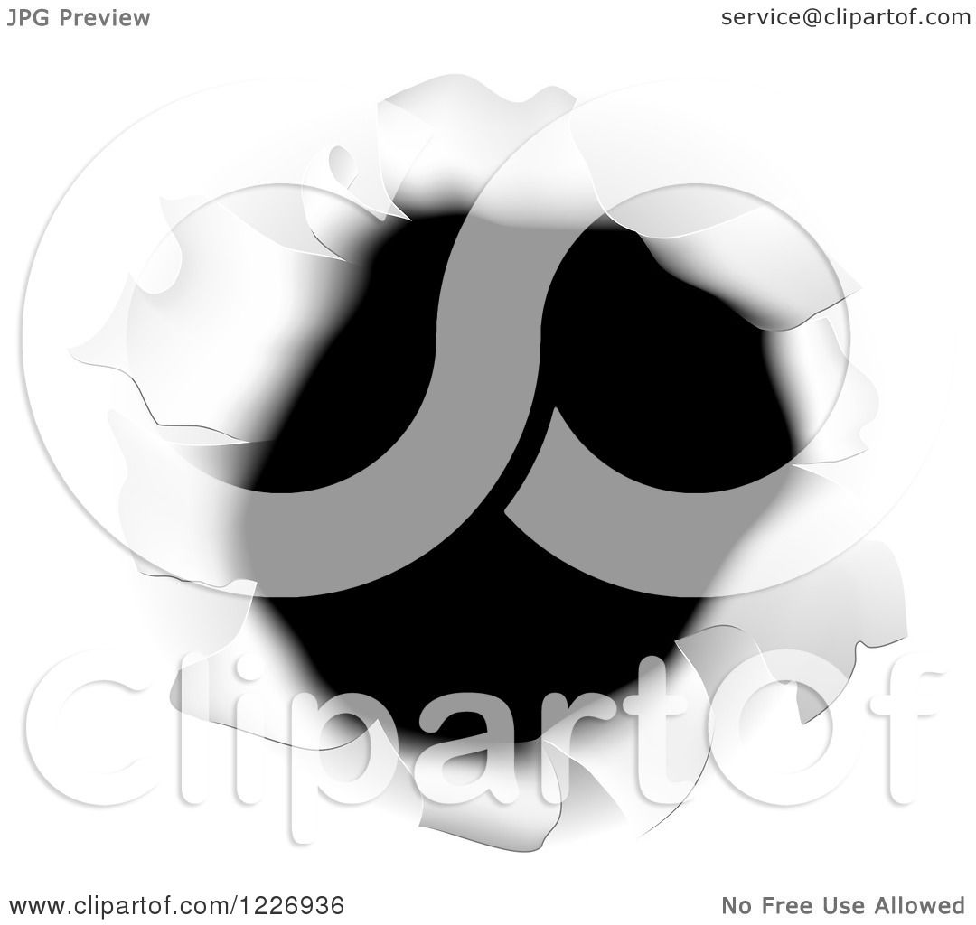 Clipart Of A Hole Torn Through White Paper Royalty Free
