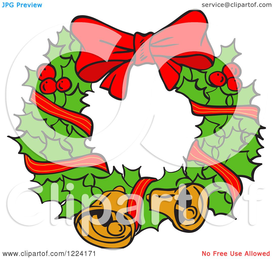 Clipart Of A Holly Christmas Wreath With Bells And A Bow