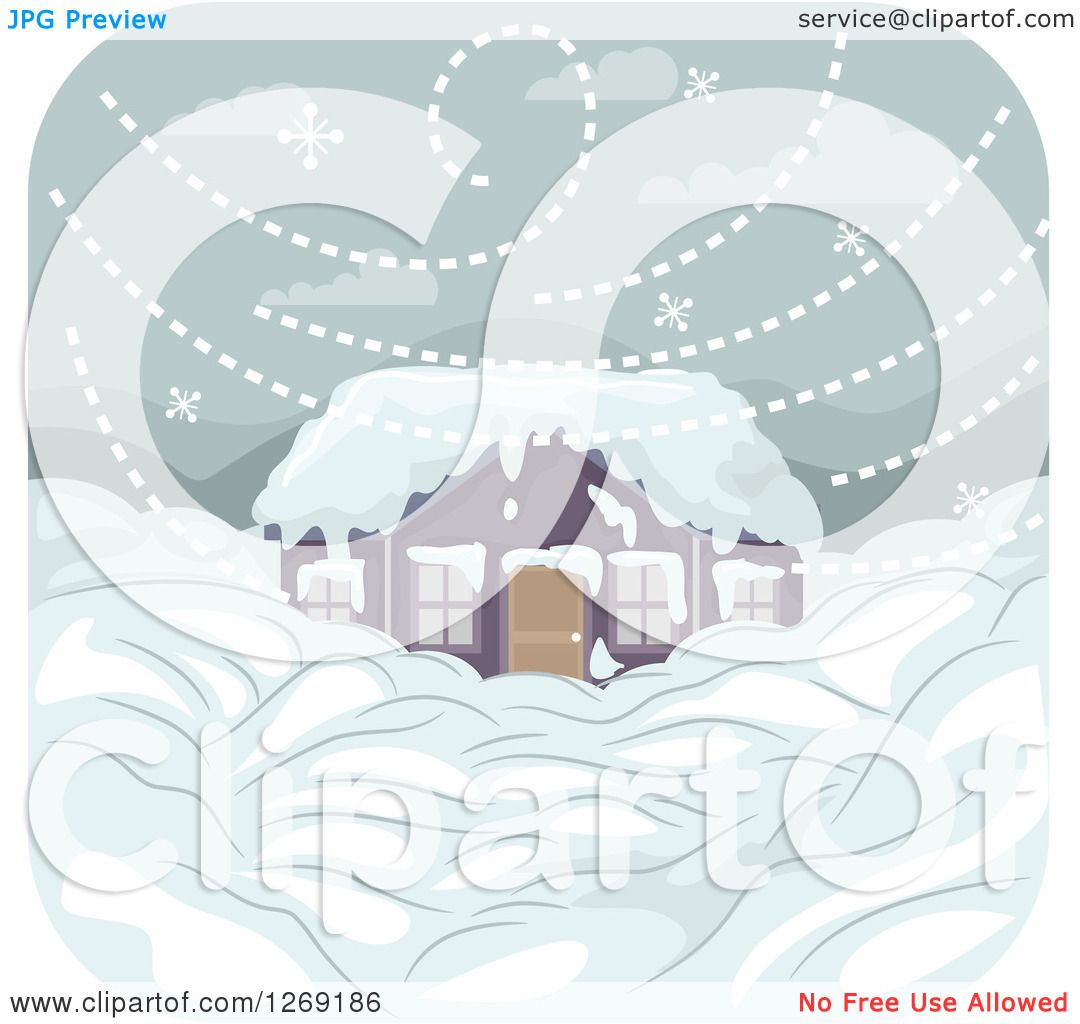 Clipart of a home buried in snow during a blizzard - Clipart illustration ...
