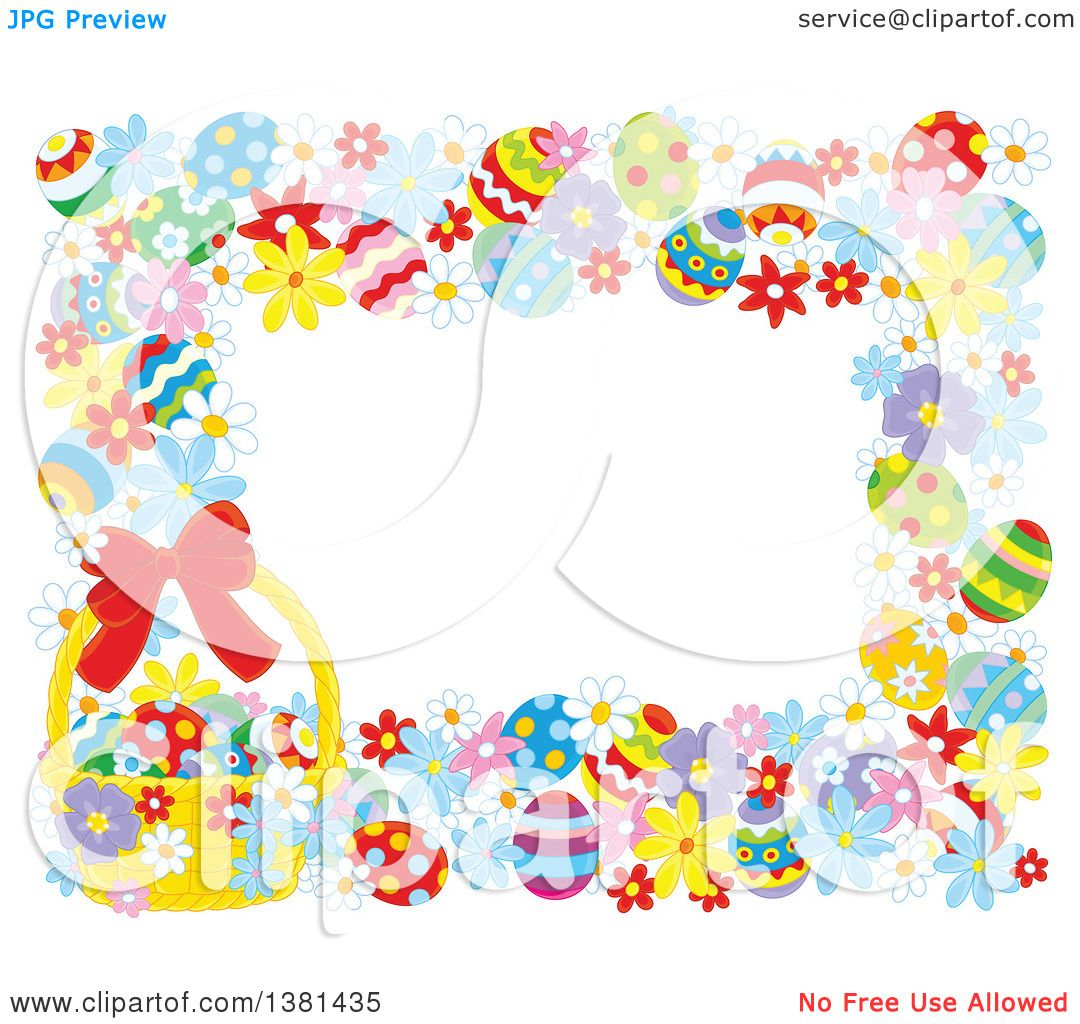 Clipart Of A Horizontal Border Frame Easter Eggs Flowers And Basket