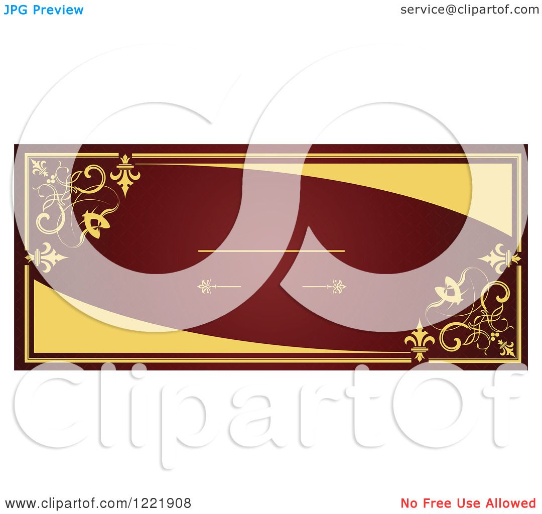 Clipart of a Horizontal Vintage Red and Gold Wedding Invite with ...