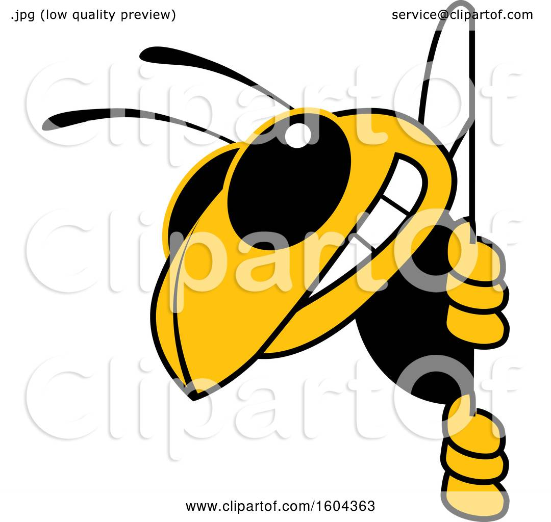 Clipart Of A Hornet Or Yellow Jacket School Mascot Character Looking