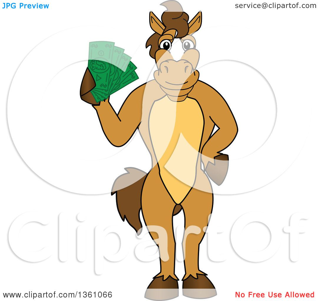 Clipart of a Horse Colt Bronco Stallion or Mustang School
