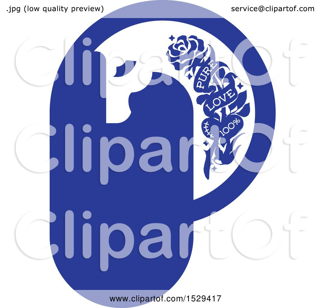 Clipart Of A Horse Head Letter P Tattoo Design With Pure Love Text