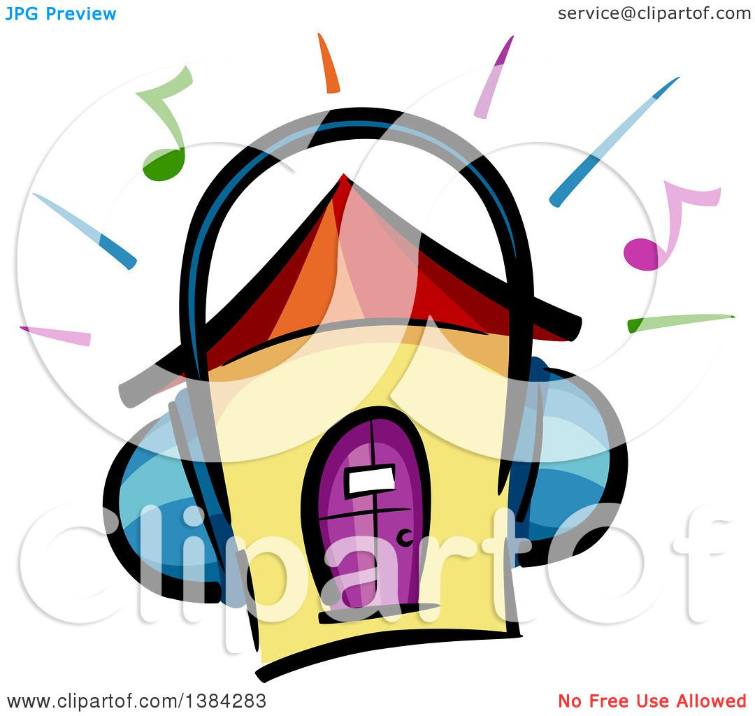 Clipart of a house wearing headphones with music notes for House music art
