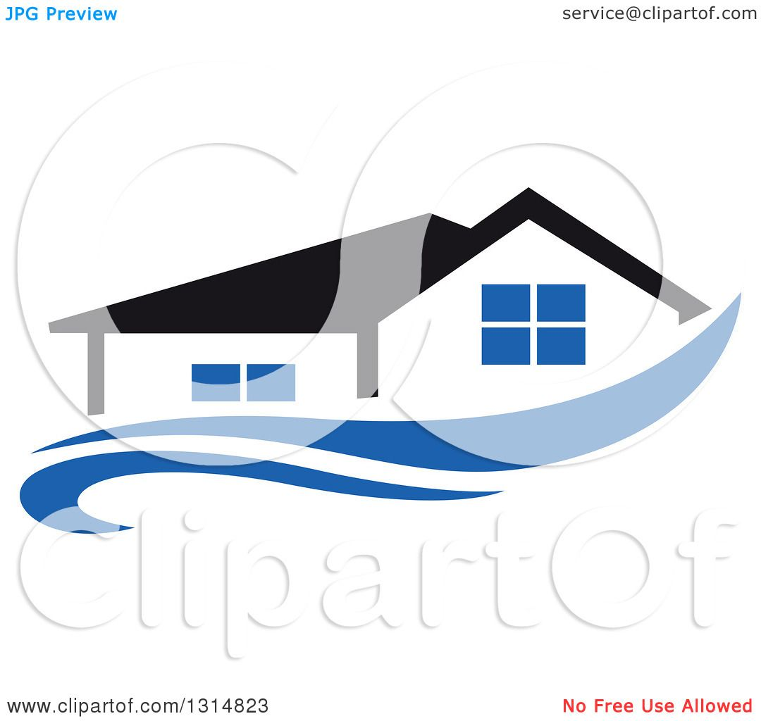 Clipart Of A House With A Black Roof Over A Blue Swoosh