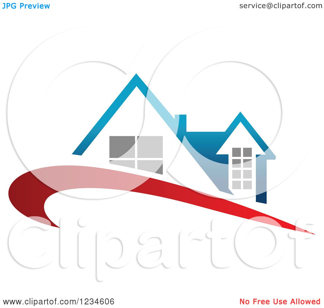 Clipart Of A House With A Blue Roof And Red Swoosh