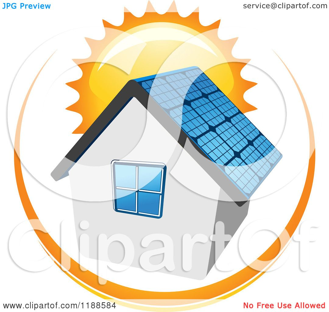 Clipart Of A House With A Solar Panel Roof And Sun