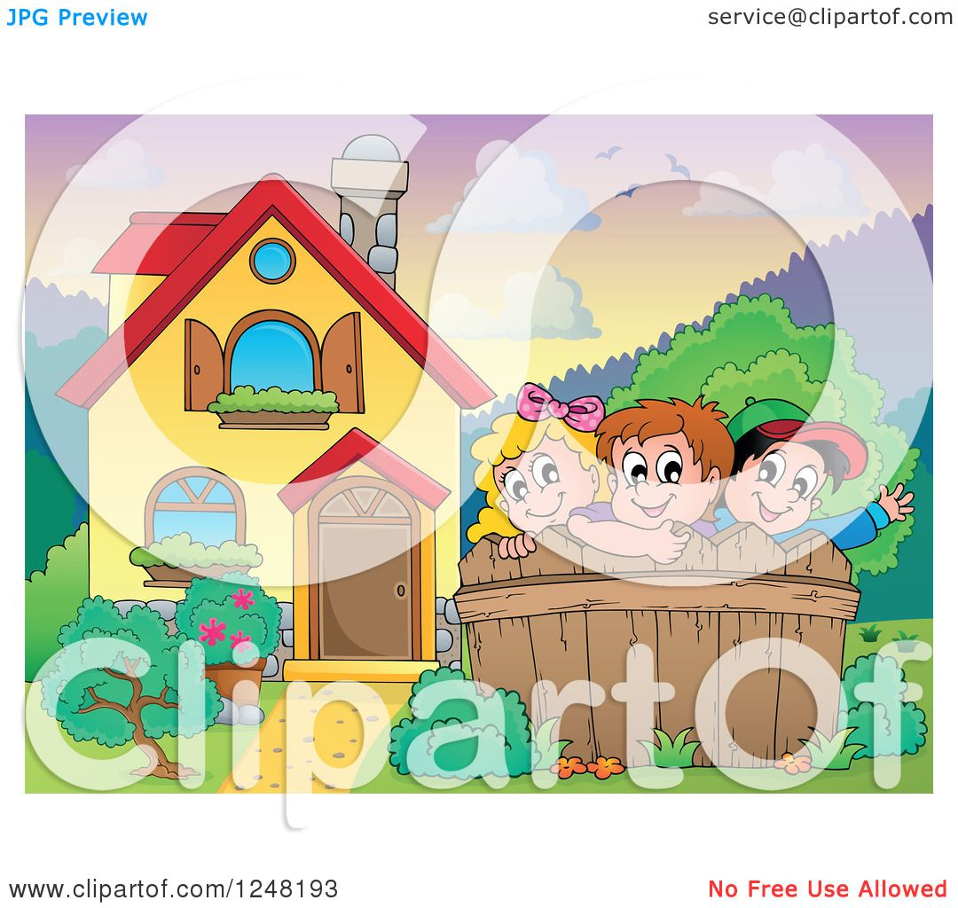 Clipart Of A House With Children Behind A Fence In The