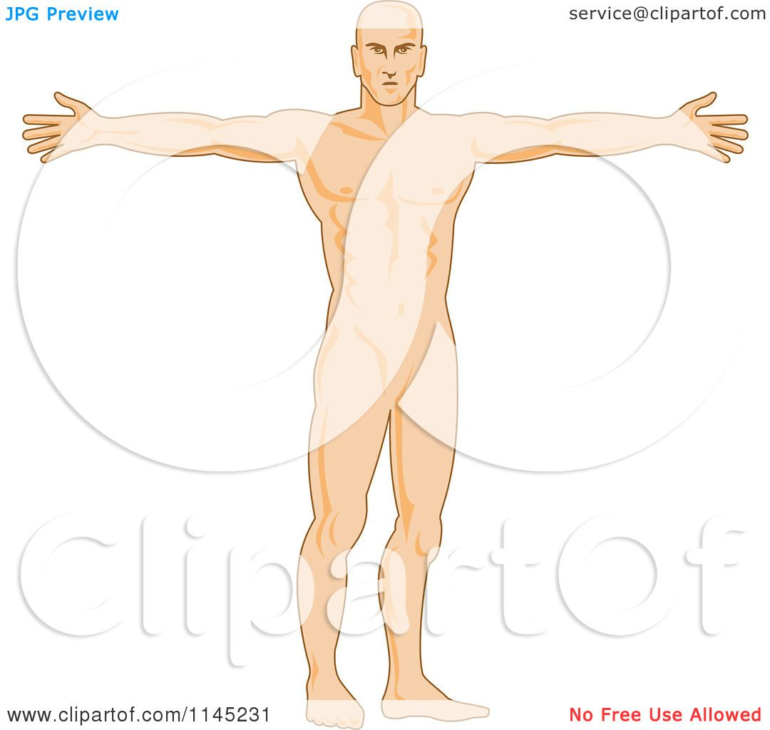 Clipart of a Human Anatomy Man Holding His Arms out - Royalty Free ...