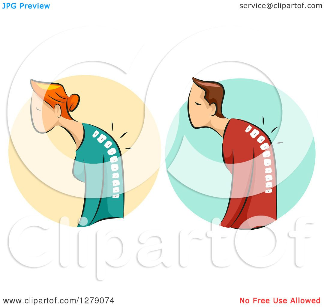 Clipart of a Hunched White Woman and Man and Visible Spines with ...