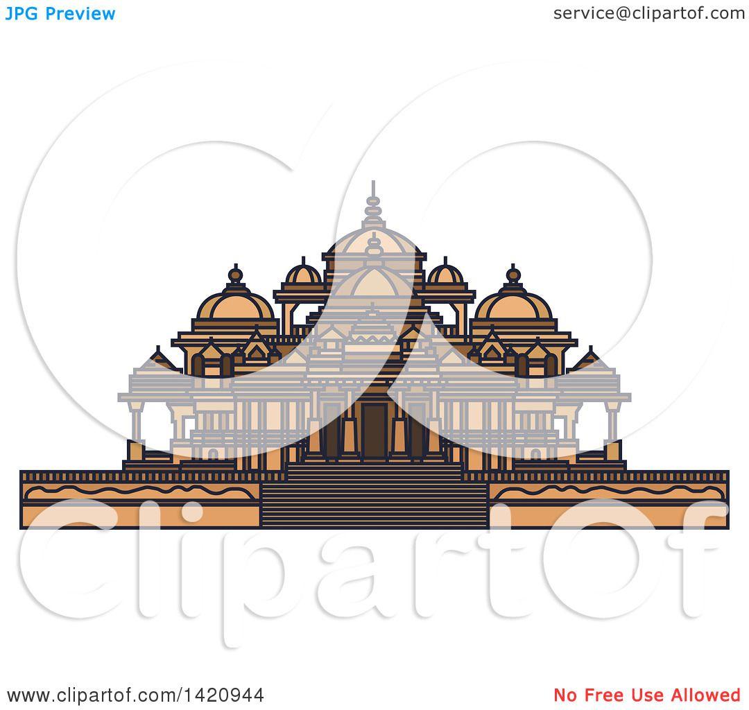 Clipart of a India Landmark, Swaminarayan Akshardham ...