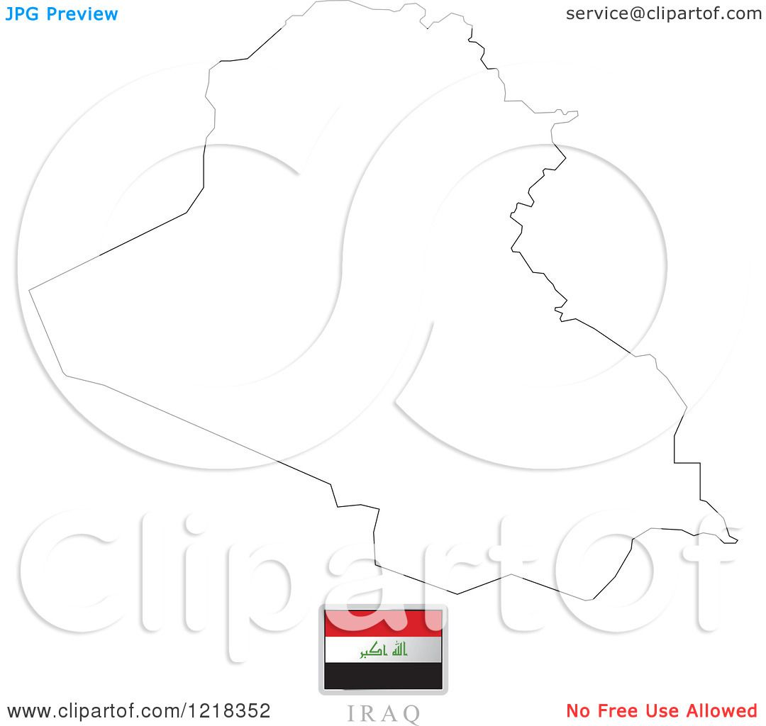 Clipart of a Iraq Flag And Map Outline - Royalty Free Vector