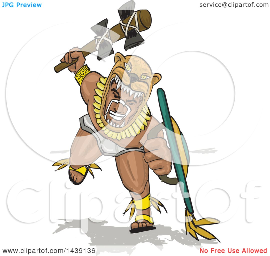 Clipart Of A Jaguar Aztec Warrior Charging With A Weapon